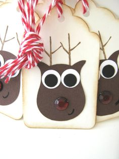 Rudolph Reindeer Owl Punch Gift Tags. Cute, Simple, Perfection! #stampinup #punchart