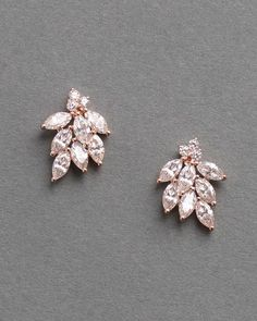Rose Gold Cubic Zirconia Stud Wedding Earrings