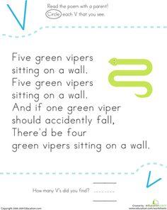 Worksheets: Find the Letter V: Five Vipers