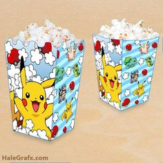 FREE printable Pokemon Pikachu popcorn boxes