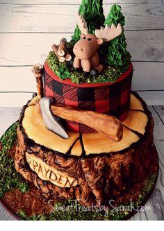 Sweet Treats by Sarah: Lumberjack Birthday Cake! First Birthday Cakes, 1st Boy Birthday, Birthday Parties, Birthday Ideas, Mermaid Birthday, Canada Birthday, Lumberjack Cupcakes, Lumberjack Birthday Party, Tea Cakes