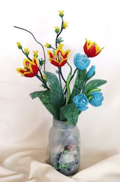 French beaded flower Sping Flowers Arrangment by nataliawied