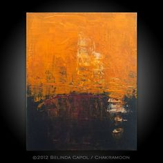 orange and gray abstract art canvas | Original Art Orange Dark Brown Acrylic Painting 16 x 20 by Belinda ...