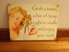 Bathroom Metal sign Vintage chic shabby home plaque decorative gift