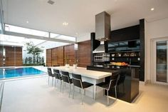 Resultado de imagem para gourmet churrasqueira are Open Kitchen, Kitchen Living, Kitchen Decor, Mansion Designs, Barbecue Area, Style Rustique, Cuisines Design, Home Projects, Sweet Home