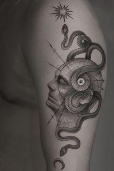Surreal tattoo by Anibal Franco - Book with Anibal on the Tattoodo App or find an artist near you! - #surrealtattoo #uniquetattoo #snaketattoo #eyetattoo #trippytattoo #psychedelictattoo #portraittattoo #moontattoo #suntattoo #illustrativetattoo #darkarttattoo