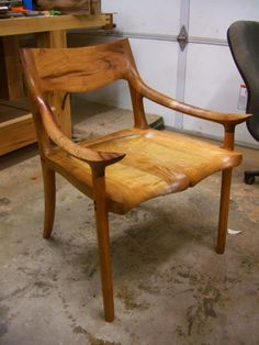 Craftsman-made mesquite wood chair, oiled finish. Must research the craftsman. This guy sweats more talent than I'll ever have!