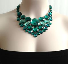 bib emerald necklace  emerlad green rhinestone bib by BienBijou, $33.00