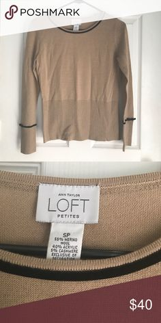 Loft Petites Wool Camel Colored Sweater Gently used like new. Camel brown with black velvet detailed lining. 55% merino Wool. Size small petite. K sep LOFT Sweaters Crew & Scoop Necks