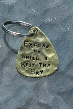Hand Stamped Brass Guitar Pick Keyring  - Excuse Me While I Kiss The Sky - Jimi Hendrix Purple Haze Lyrics By Inspired Jewelry Designs