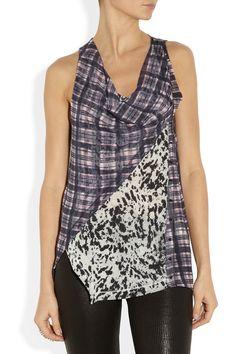 Matching/not-matching top. (3.1 Phillip Lim|Printed draped silk-chiffon top|NET-A-PORTER.COM)