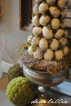 darling easter egg topiary...started out with colored eggs and turned it into one that works with a neutral color scheme,