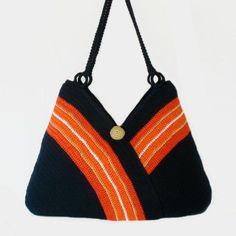 Crochet tote bag, Shoulder bag in navy blue, Knitted beach bag tote, Everyday women bag, Summer handbag, Hand crochet bag