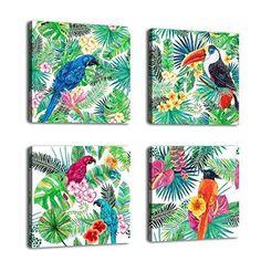 Framed Birds In Tropical Green Forest Canvas Art Print Picture Wall Home Decor #yearainn #ArtDeco