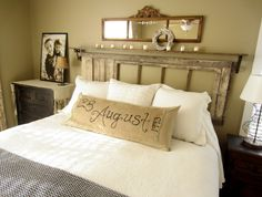 Love this idea! Hand paint a date, word, or verse onto burlap and pin it to a body pillow. So easy to change with the seasons. Down to Earth Style: Vintage~Rustic~Simple~Master Bedroom