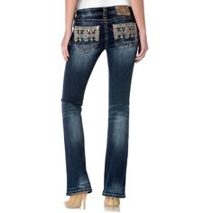 Miss Me Dark Blue Tribal Embroidered Bootcut Jeans - Women's ($110) ❤ liked on Polyvore featuring jeans, dark blue, 5 pocket jeans, zipper jeans, boot cut jeans, low rise bootcut jeans and bootcut jeans