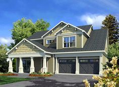Elevation of Craftsman   Traditional   House Plan 58233. Really love this one, great layout, only thing missing is us and a lot to put it on.