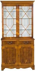 Vintage Antique Style Yew Wood Bookcase Bookshelf Display Cabinet Glass Shelves