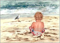 BEACH TODDLER Bird Boy 11x15 Giclee Watercolor by steinwatercolors, $40.00