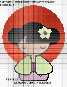 Kokeshi Doll Cross Stitch Pattern