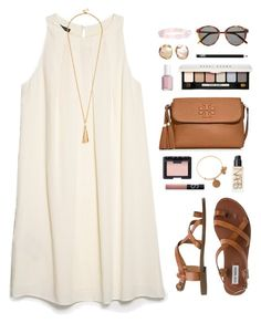 """pale colors"" by classically-preppy ❤ liked on Polyvore featuring MANGO, Steve Madden, Tory Burch, Yves Saint Laurent, Essie, Bobbi Brown Cosmetics, NARS Cosmetics and Alex and Ani"