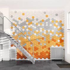 Panneau acoustique en laine de bois / mural / design / pour établissement public HEXAGON BAUX