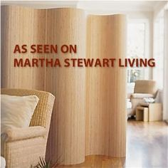 Rollable Wooden Room Partition, Screen Room Divider (AS SEEN ON MARTHA STEWART LIVING)