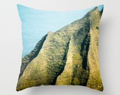 These are pretty cute too!   Throw Pillow, Hawaiian Art, Na Pali Coast, Kauai Mountains, Beach House Decor, Green, Blue, Ocean, Cover Only 16x16, 18x18, 20x20