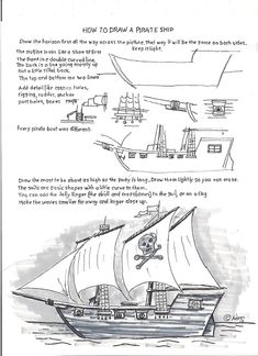 how to draw a pirate ship worksheet