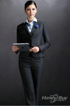 Peak Lapel Grey Gorgeous Women Business Suits