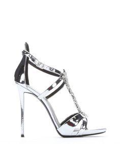 GIUSEPPE ZANOTTI Silver Metallic Leather Crystal T-Strap Sandals. #giuseppezanotti #shoes #sandals
