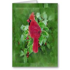 Watercolor Cardinal Bird and Holly Christmas Art
