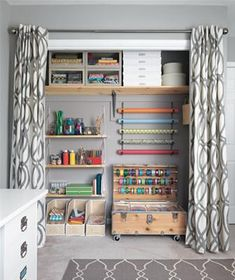 organized closet with curtains