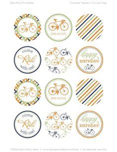 Bicycle Cupcake Topper Printables