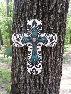 Damask Print & Turquoise Cross, Wall cross, Black and white, Turquoise, Layered, Womens decor, Western decor, Western Shabby Chic, Rustic
