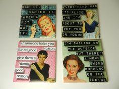 Coaster Set Funny Retro Womens Funny Drink by DesignsofFaithandJoy