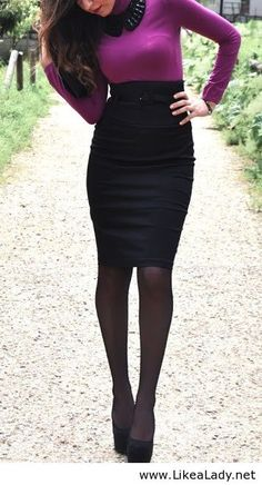 Business outfit with purple sweater, high- waisted black skirt, black tights and black pumps.