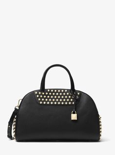 MICHAEL KORS Austin Large Studded Leather Bowling Satchel. #michaelkors #bags #polyester #leather #lining #satchel #shoulder bags #hand bags #