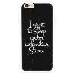 """iPhone 6 Plus/6/5/5s/5c Case - """"I Want to Sleep Under Unfamiliar Stars."""" White Text Typography on Starry Night Sky"""