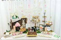 Alice in Wonderland   Welcome to Onederland   first birthday, tea party, dessert bar, floral, flowers, garden party, cake pop, cupcake, brownies, drink me, pink lemonade, royal icing, mushroom cookie, favor, cotton candy, gluten free  courtesy of www.photographybyzook.com