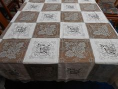 Vintage Army Navy Lace and Linen Tablecloth