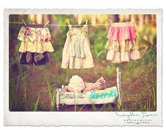 Adorable Newborn Baby Photo Session Ideas | Props | Prop | Child Photography | Clothing Inspiration| Fashion | Pose Idea | Poses | Outdoor | Hanging Laundry On The Clothesline Theme