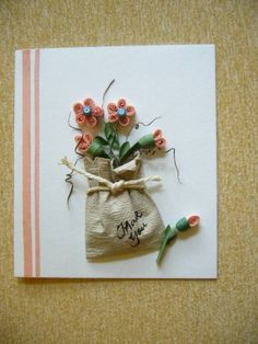 Thank You Card - flower in paper bag - Quilled Creations Quilling Gallery