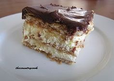 "Eclair Cake - ""My favorite go-to dessert for a crowd. Make the night before  substitute vanilla pudding with cheesecake pudding."""