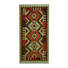 Herat Oriental Afghan Hand-woven Tribal Vegetable Dye Wool Kilim (3'4 x 6'6) (Afghan Hand-woven Wool Area Rug), Brown, Size 4' x 7' (Natural Fiber, Geometric)