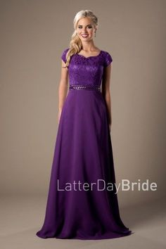 Modest Prom Dress 2017 | LatterDayBride & Prom | SLC | Utah | Worldwide Shipping | Trish | This stylish prom gown features a sweetheart neckline, lovely lace bodice, sparkling waistband and a straight chiffon skirt.    Dress available in Black, White, Purple or Red    *Dress shown in Purple.