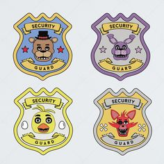 Five Night At Freddys Printable Badges. Great for party favors. Attach a pin on the back and have all your kids guest wear their favorite characters. Best if printed on card stock paper. Shop them now at etsy.com/shop/1208designs  #fnaf #fivenightsatfreddys