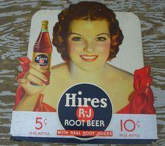 HIRES RJ ROOT BEER LARGE DIE CUT CARDBOARD WITH GIRL WOW!! #HIRESROOTBEER