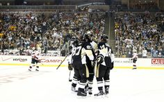 The boys celebrate Sidney Crosby's goal during the game against the Jersey Devils, home opener 10/3/13