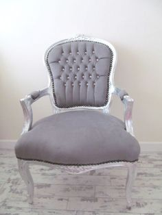 Superbe French Velvet Chair Grey Washed Antique Finish Handmade New Free Shipping  (we Ha | Classic Home | Pinterest | Upholstery And Interiors